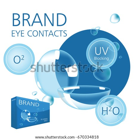Realistic style vector with contacts ad with package and illustration with text