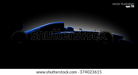 Realistic styled racing car formula side view in dark