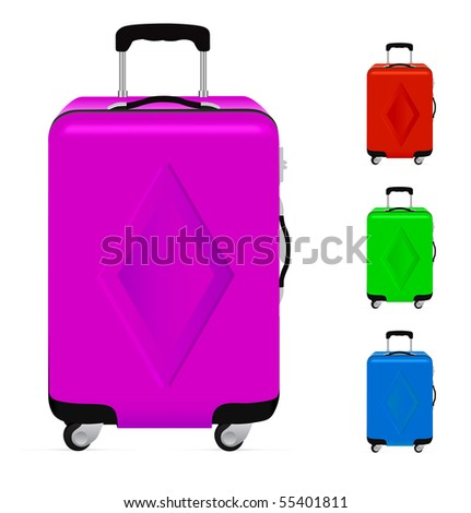 Realistic suitcases isolated on a white background.