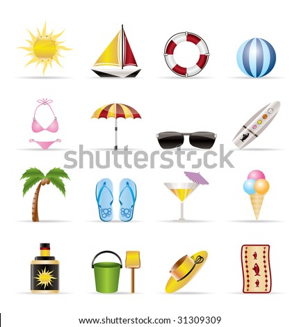 Realistic Summer and Holiday Icons - Vector Icon Set
