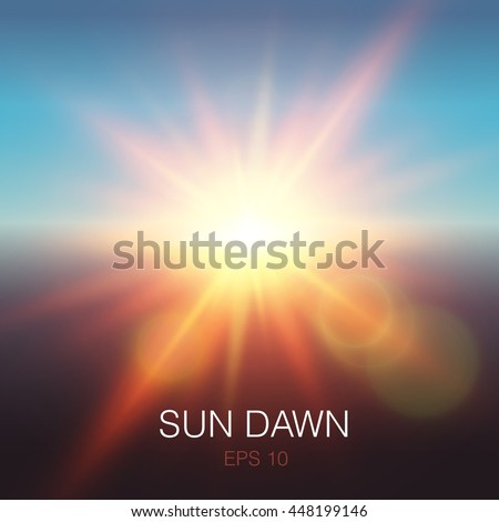 realistic sun dawn beams of
