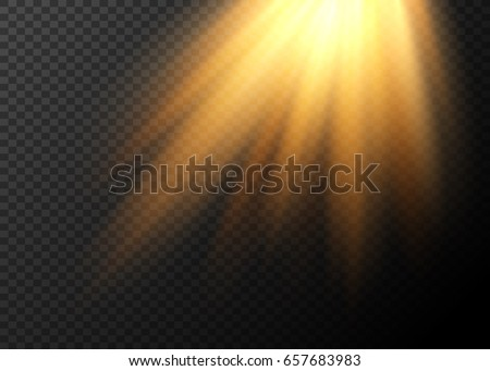 Realistic sun rays. Light effect. Warm orange flare effect. Sunshine, sunbeam. Falling rays of light.
