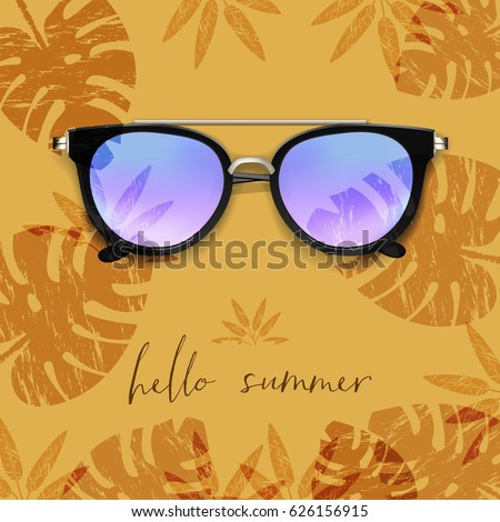 Stock Photo Realistic Sunglasses. Palm leaves background. Hello Summer card. Vector illustration