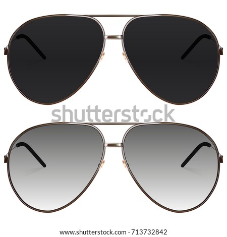 Realistic sunglasses set. Vector isolated elements.