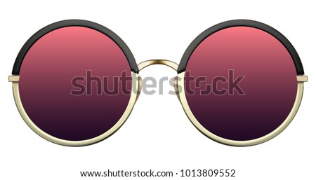 Realistic sunglasses with red gradient lens and gold round metallic frame. Vector 3D illustration