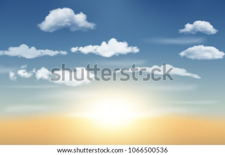 Realistic Sunrise with blue sky and clouds. Vector Illustration #1066500536