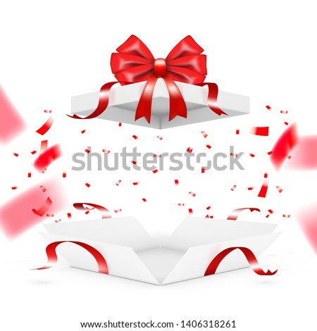Realistic Surprise Gift Box With Falling Confetti. EPS10 Vector