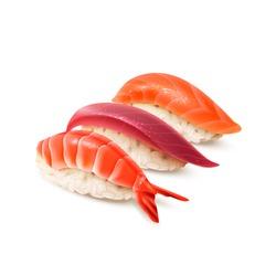 Realistic sushi set. Japanese cuisine, traditional food. Isolated on white vector illustration.