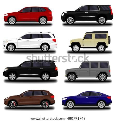 realistic SUV car. set