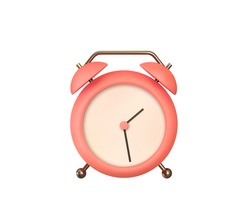 Realistic Table Clock. 3d alarm clock. Classic timer time. Isolated on white background. Vector illustration