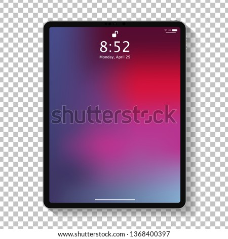 Realistic tablet computer lock screen with abstract colored geometric wallpaper. Big and small modern tablet PC design isolated on transparent background. Vector Illustration