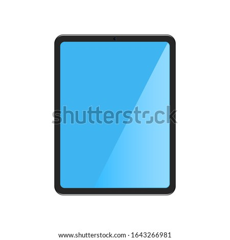 Realistic tablet in flat style. Modern device with touchscreen and blue monitor. Isolated pad illustration with screen. Vector EPS 10