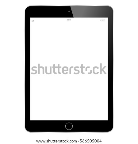 Realistic tablet pc computer with blank screen isolated on white background. Tablet in ipad style black color with blank touch screen isolated on white background.