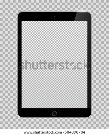 Realistic Tablet PC Computer with Transparent Screen Isolated on Background. Can Use for Template, Project, Presentation or Banner. Electronic Gadgets, Device Set Mock Up. Vector Illustration.