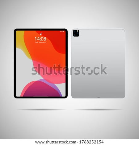 Realistic tablet PC. Vector illustration in trendy thin frame design with front and back side view.