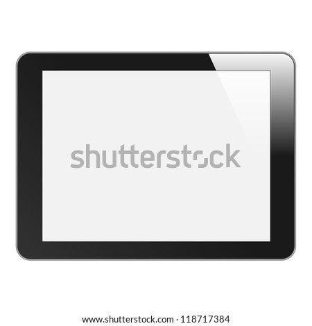 Realistic Tablet PC with blank screen. Black, horizontal. Isolated on white background. Vector EPS 10