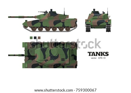 dbde6b20e32ed Vector military silhouettes collection. Tank front view icon. Realistic tank  blueprint. Armored car with camouflage on white background. Top