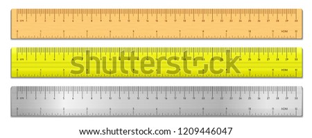Realistic tape rulers set isolated on white. Plastic, metal and wooden double sided measurement in cm and inches. Vector illustration