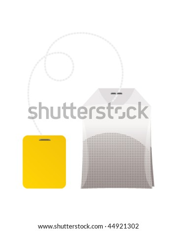 Realistic tea bag isolated on white background - stock vector