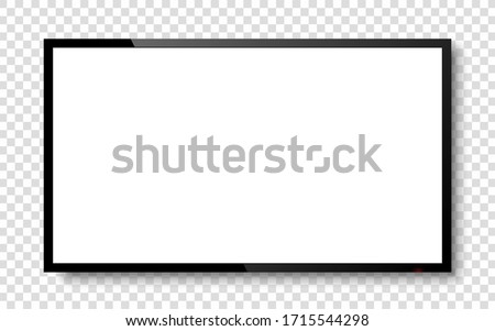 Realistic television screen on background. TV, modern blank screen lcd, led.  Large computer monitor display mockup.