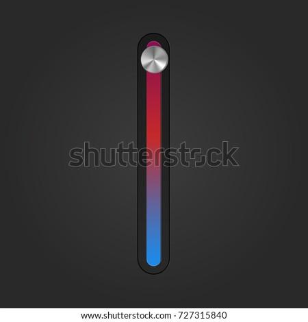 Realistic Temperature button knob switch. Vector illustration.