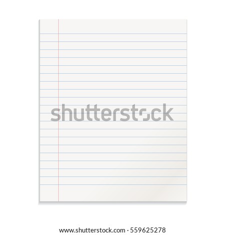 Realistic template line notepad. Blank cover design. School business diary. Office stationery notebook on white background