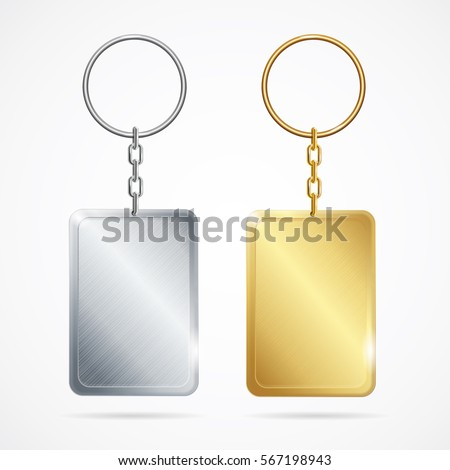 Realistic Template Metal Keychains Set Golden and Silver Rectangle Shape. Vector illustration