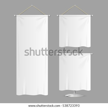 Realistic Template Textile Banners with Folds Set Can Be Used For Marketing and Advertising. Vector illustration