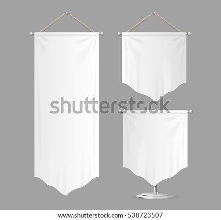 Realistic Template Textile Banners with Folds Set Fabric Canvas Can Be Used for Awards or Your Business. Vector illustration