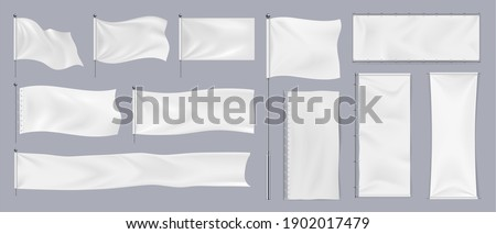 Realistic textile banners. 3D blank waving cotton flags. Empty fabric signboards for advertising. White canvas hanging on chrome stand. Horizontal or vertical pennants for brand identity, vector set Stockfoto ©