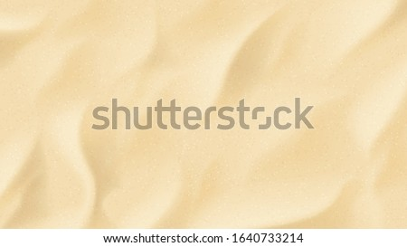 Realistic texture of beach sand. Vector illustration with top vie on realistic ocean, river or sea sand.