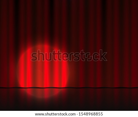 Realistic theater stage. Red velvet curtains and spotlight illumination. Circus or cinema drape. Vector isolated 3D theater background with round spot light as a highlight effect empty theatre stage