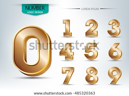 Realistic three dimensional number set, vector illustration