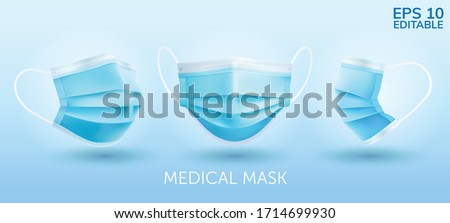 Realistic Three perspective angles blue surgical mask in vector isolated