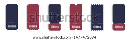 realistic tickes set. blank tickets with shadow. coupon icons on white background. coupon vector icons. Eps10