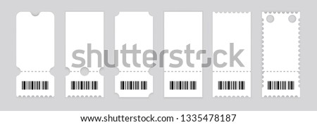Realistic ticket design. Vector illustration.Symbol Coupon.Set of vintage grunge Collection Tickets. Template.