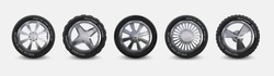 Realistic tires set. Truck wheels isolated on white, winter and summer car tires, 3D detailed aluminum alloy rims. Vector black automobile rubber with different rims for vehicle