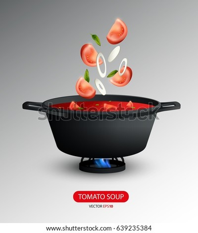 Realistic tomato soup cooking concept with tomato and onion slices falling into pan isolated vector illustration