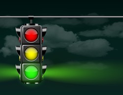 Realistic traffic lights with green lamp on, hanging in night sky. Photo-realistic vector illustration isolated on white background