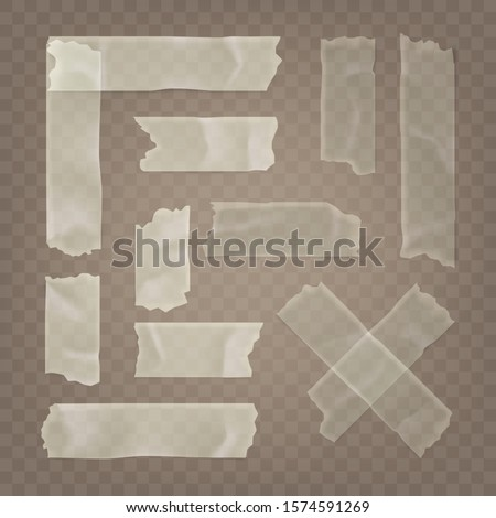 Realistic transparent adhesive tape set. Sticky scotch, duct paper strips on checkered background. Vector illustration. Photo stock ©