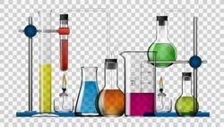 Realistic Transparent Chemical Laboratory Equipment Set. Glass Flasks, Beakers, Spirit Lamps. EPS10 Vector