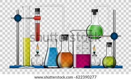 Realistic Transparent Chemical Laboratory Equipment Set. Glass Flasks, Beakers, Spirit Lamps. EPS10 Vector