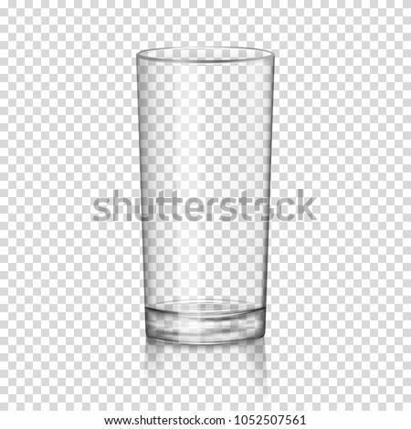 Realistic transparent glass, isolated.