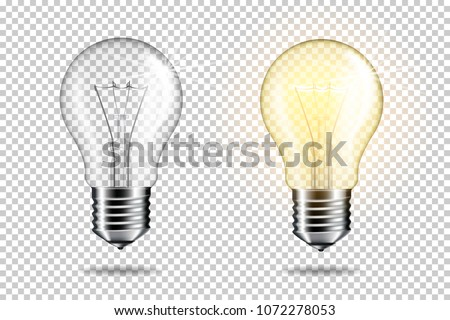 Realistic transparent light bulb set, isolated.