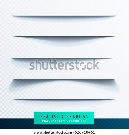 realistic transparent paper shadow effect set