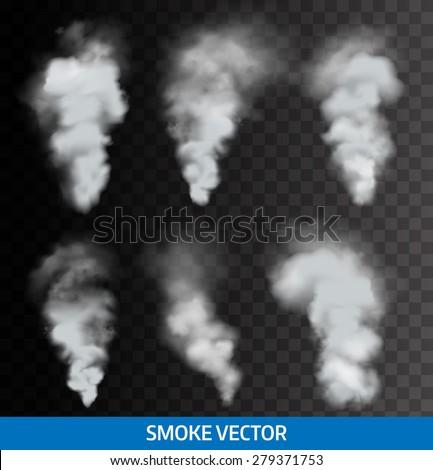 Realistic transparent smoke, steam. Vector.