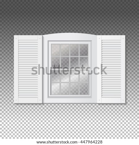 Realistic Transparent Window. Front View. White Frame and blinds shutters.