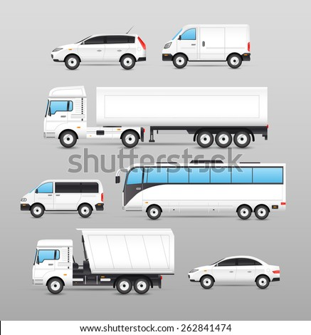 Realistic transport icons set with car van bus truck isolated vector illustration Foto stock ©