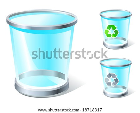 realistic trash icon with and without recycle sign, see also Images ID: 18871447, 18875551