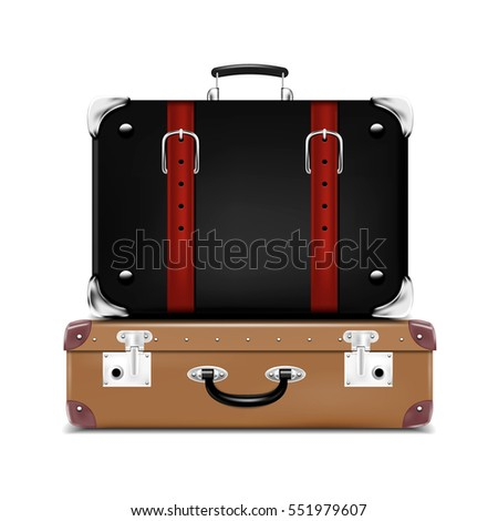 Realistic Travel Suitcases. Vector illustration.